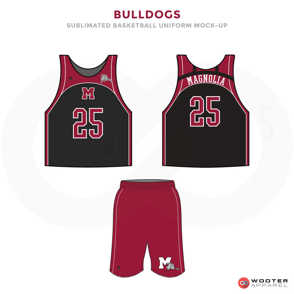Bulldogs Red and Black Lacrosse Uniforms, Reversible Pinnies, and Shorts
