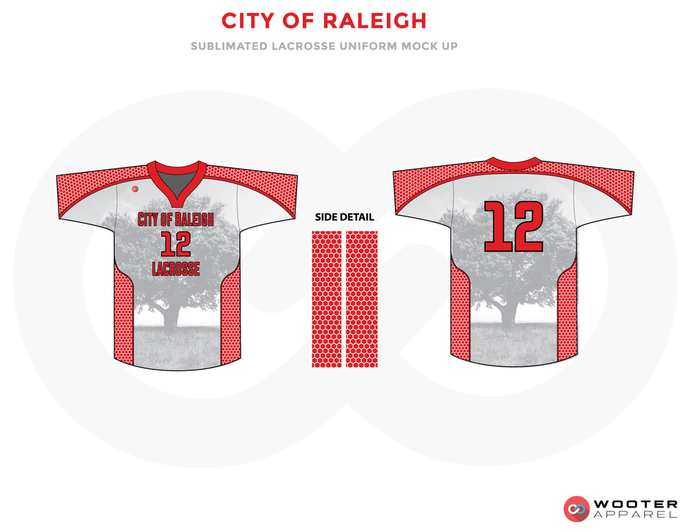 City Of Raleigh Red and Gray Lacrosse Uniforms, Jerseys