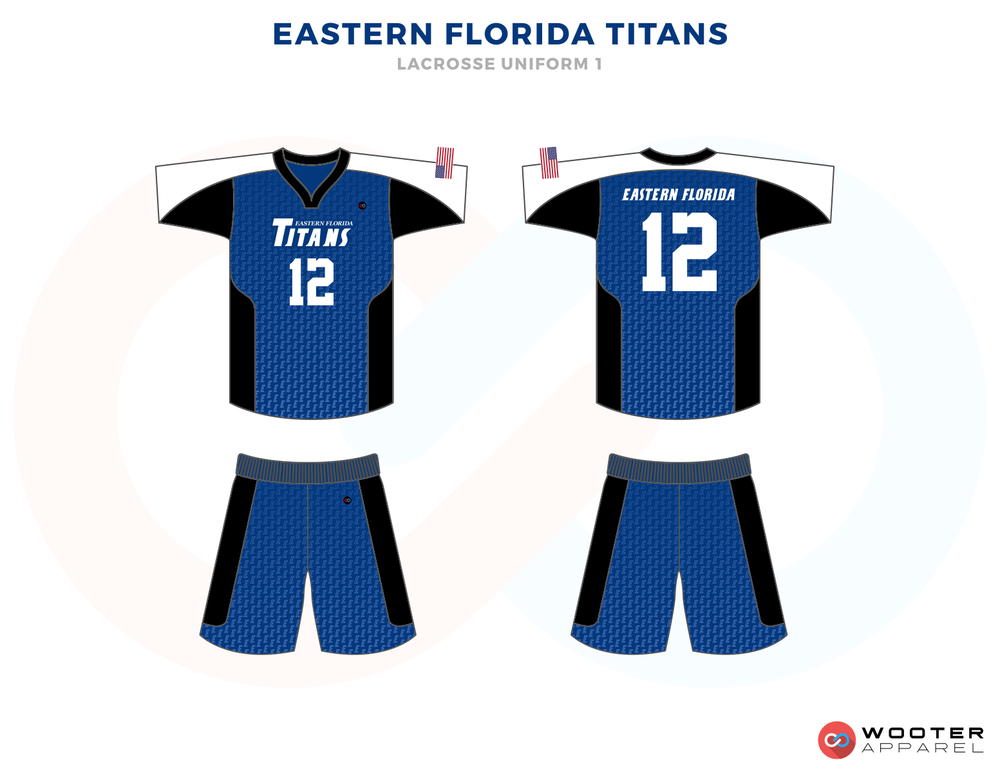 East Florida Titans Blue Black and White Lacrosse Uniforms, Jerseys, Shorts