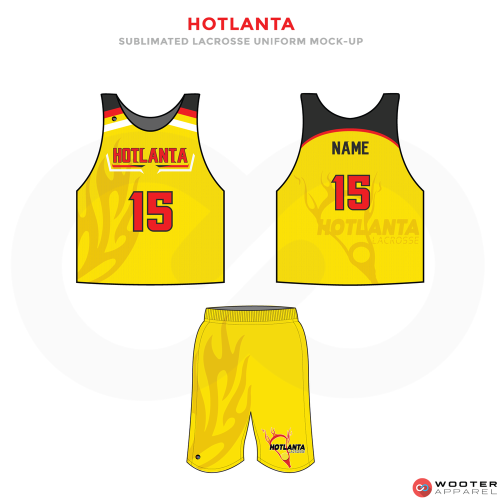 Hotlanta Red Yellow Black and White Lacrosse Uniforms, Reversible Pinnies, Jerseys, Shorts