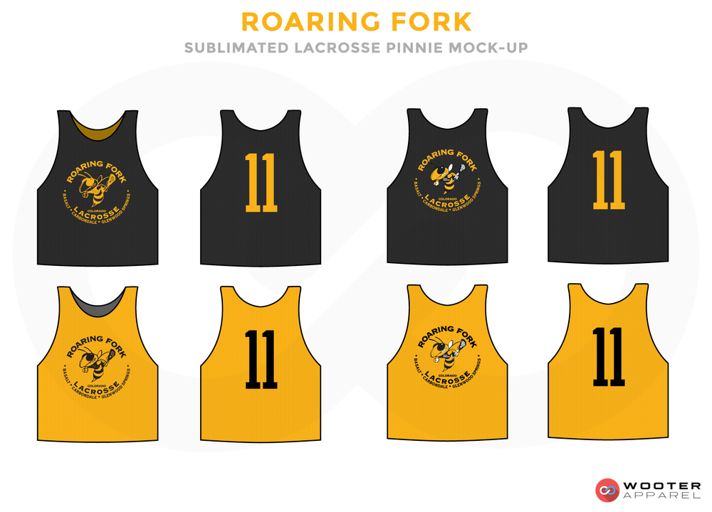 Roaring Fork Black and Yellow Lacrosse Uniforms, Reversible Pinnies, Jerseys
