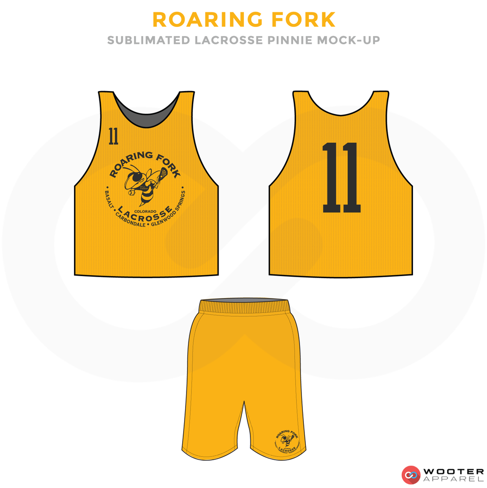 Roaring Fork Black and Yellow Lacrosse Uniforms, Reversible Pinnies, Jerseys, Shorts