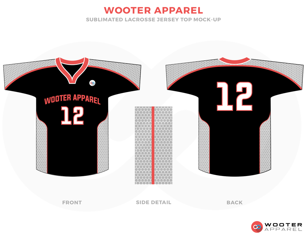 Wooter Apparel Black Red and White Lacrosse Uniforms, Reversible Pinnies, Jerseys, Shorts