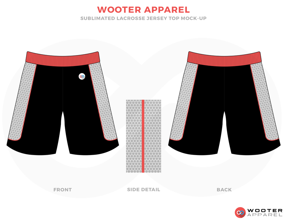 Wooter Apparel Black Red and White Lacrosse Uniforms, Reversible Pinnies, Shorts