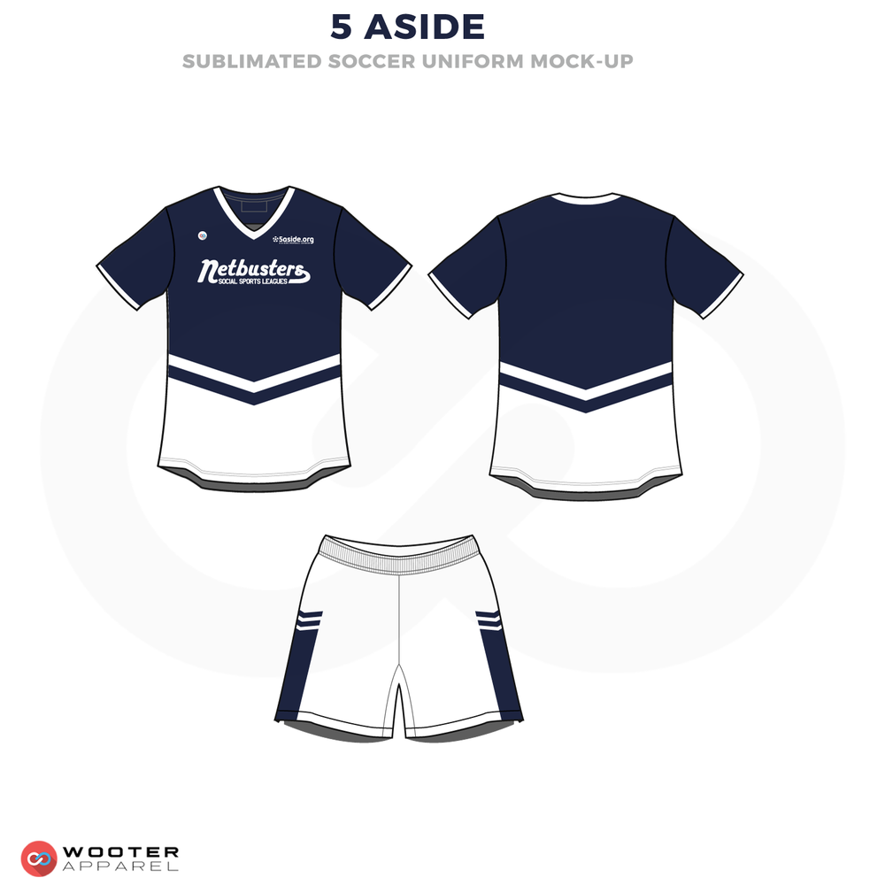 5 Aside Blue and White Soccer Uniform, Jersey and Shorts