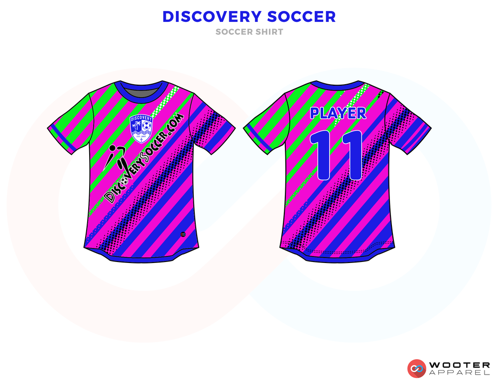 Discovery Soccer Purple and Green Soccer Uniform, Jersey and Shorts