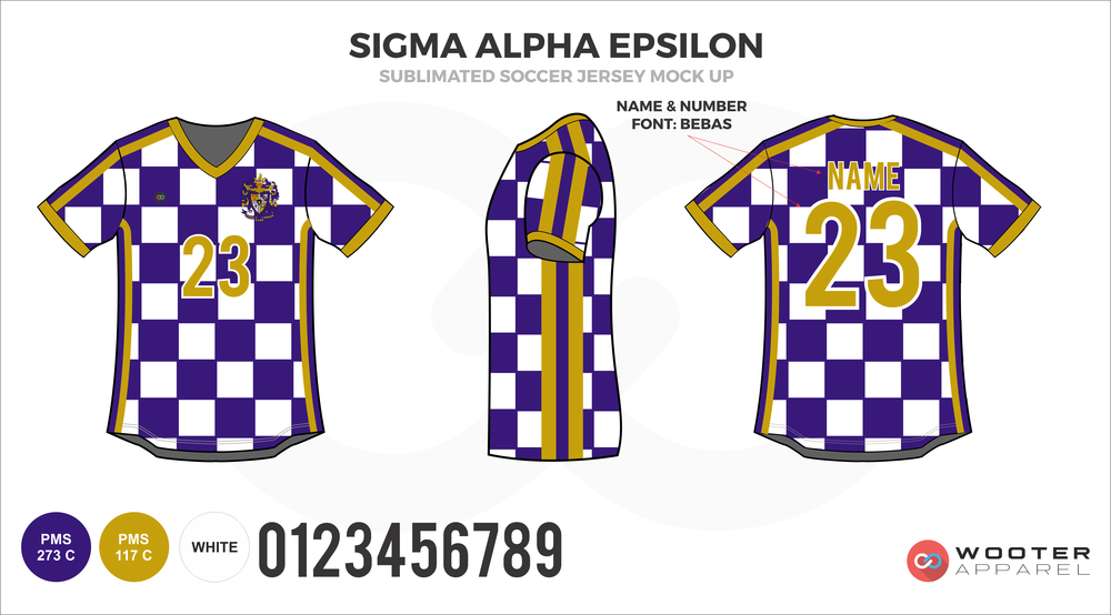 Sigma Alpha Epsilon Purple and White Checkered Soccer Jersey