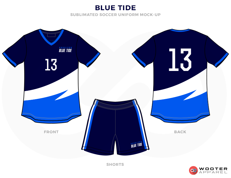 Blue Tide Dark Blue Light Blue and White Soccer Uniform, Jersey and Shorts