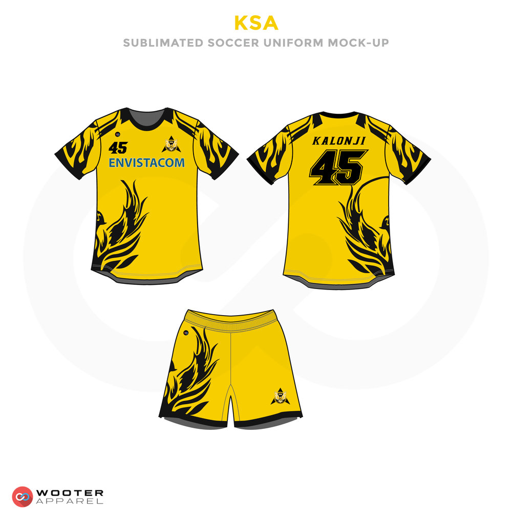 KSA Gold Yellow and Black Soccer Uniform, Jersey and Shorts