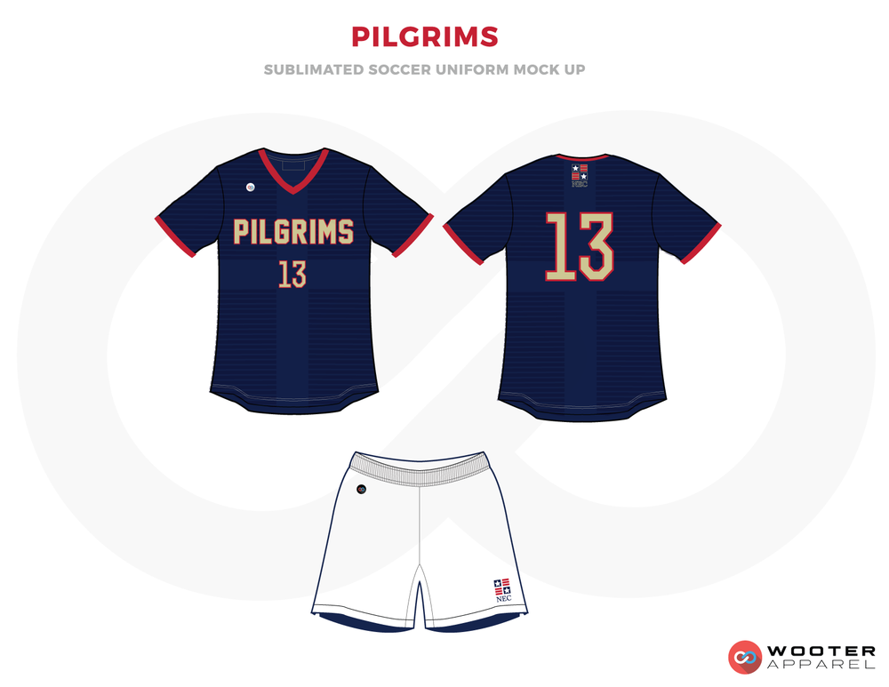 Pilgrims Dark Blue Red and White Soccer Uniform, Jersey and Shorts