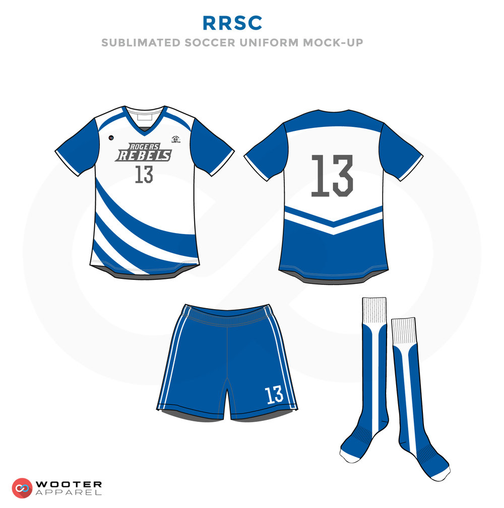 RRSC Blue and White Soccer Uniform, Jersey, Shorts, and Socks