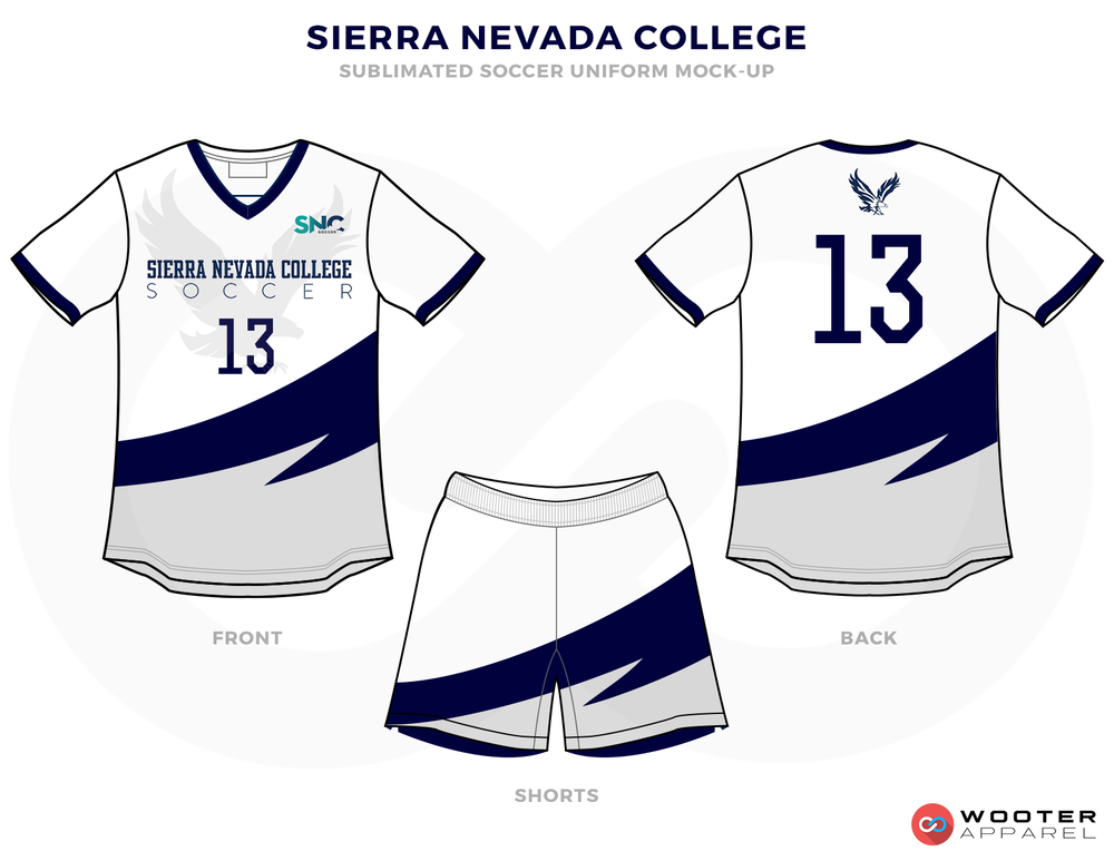 Sierra Nevada College Grey Blue and White Soccer Uniform, Jersey and Shorts