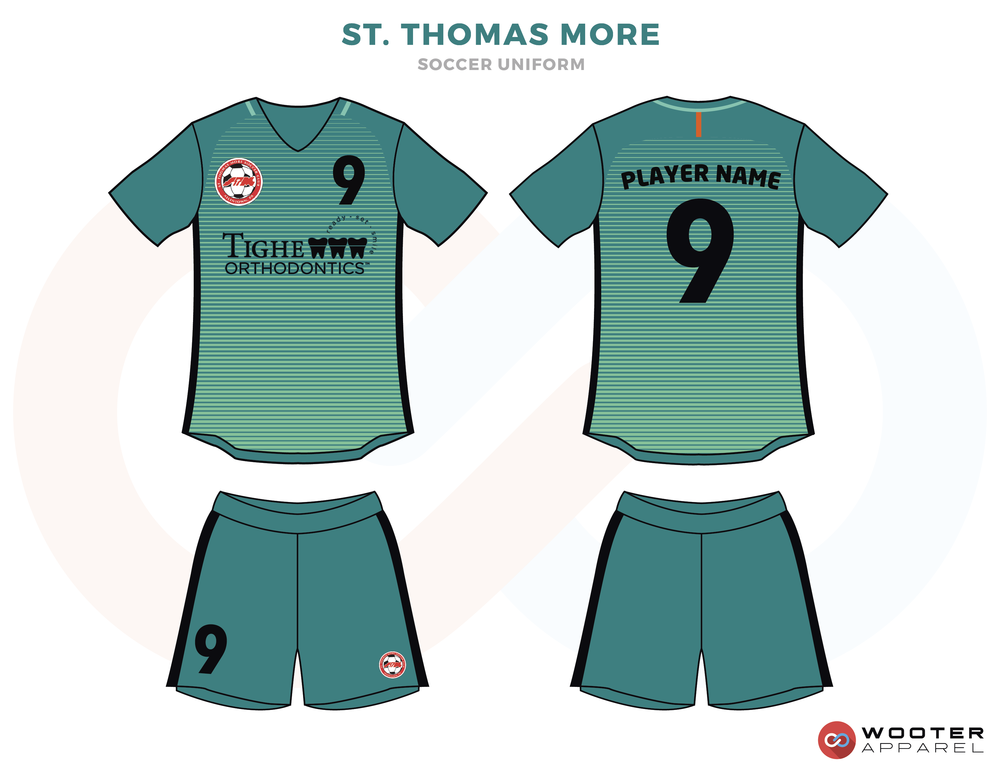 St. Thomas Green and Black Soccer Uniform, Jersey and Shorts