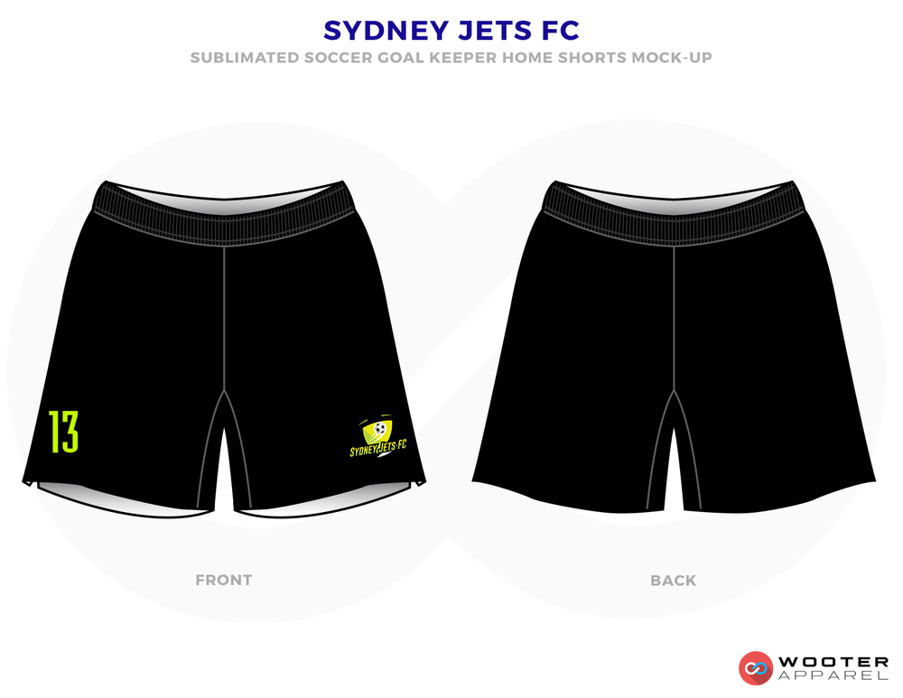 Sydney Jets FC Black Lime Green and White Soccer Uniform, Jersey and Shorts