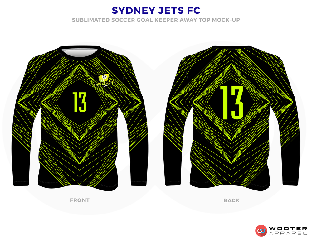 Sydney Jets FC Lime Green and Black Soccer Long Sleeve Warmup T
