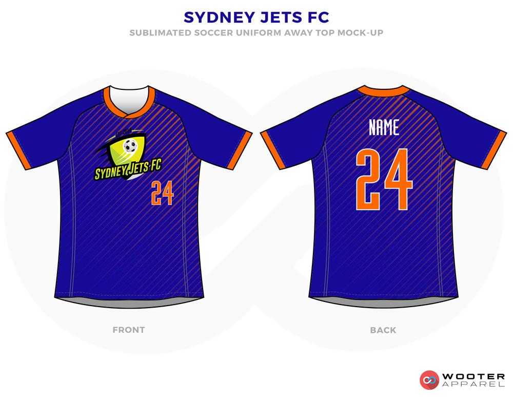 Sydney Jets FC Blue and Orange Soccer Uniform, Jersey and Shorts
