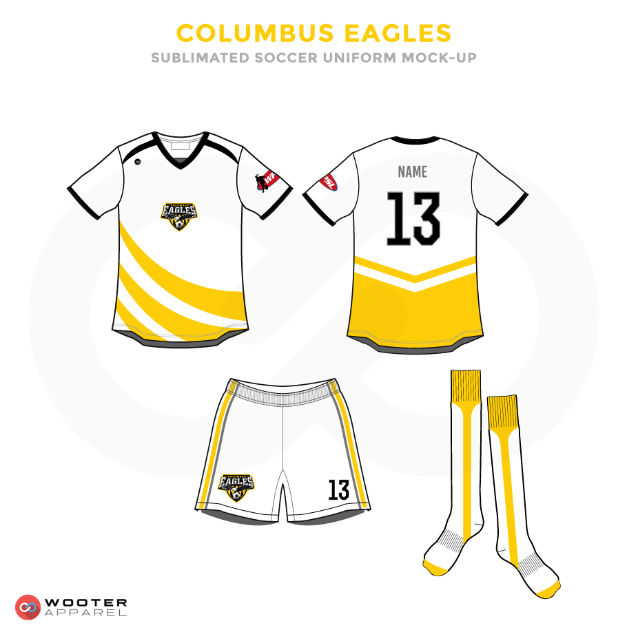 Columbus Eagles Black Yellow and White Soccer Uniform, Jersey, Shorts, and Socks
