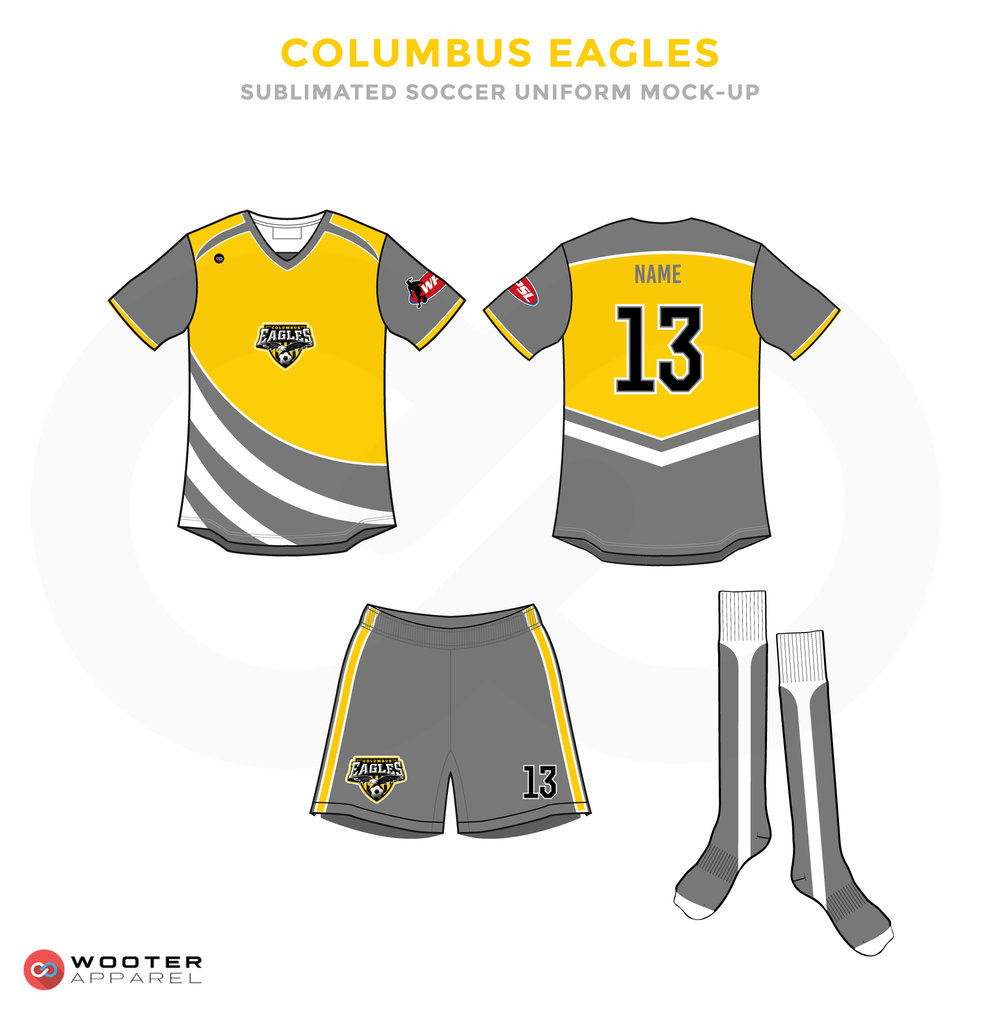 Columbus Eagles Grey Yellow and White Soccer Uniform, Jersey, Shorts, and Socks