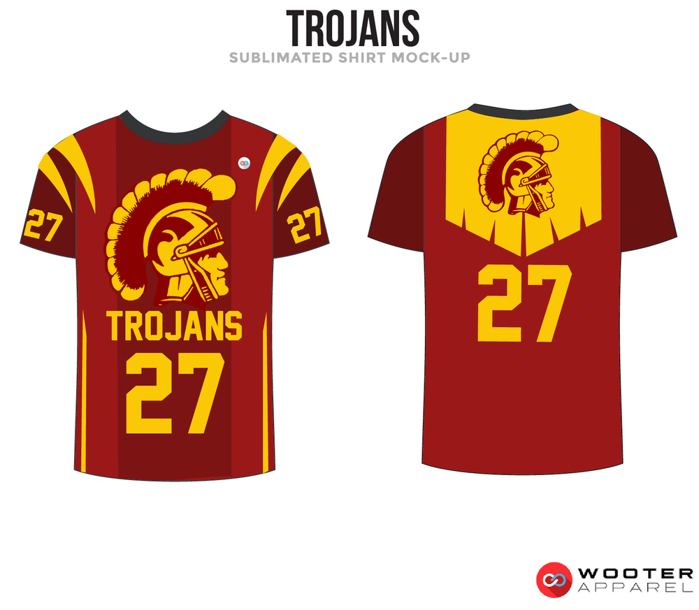 TROJANS Maroon Black and Yellow Premium Shooting Shirt