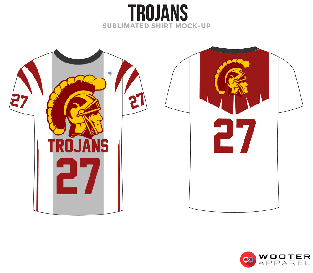 TROJANS White Yellow Black and Maroon Premium Shooting Shirt