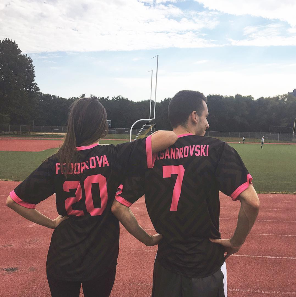 Black Pink soccer uniforms jerseys