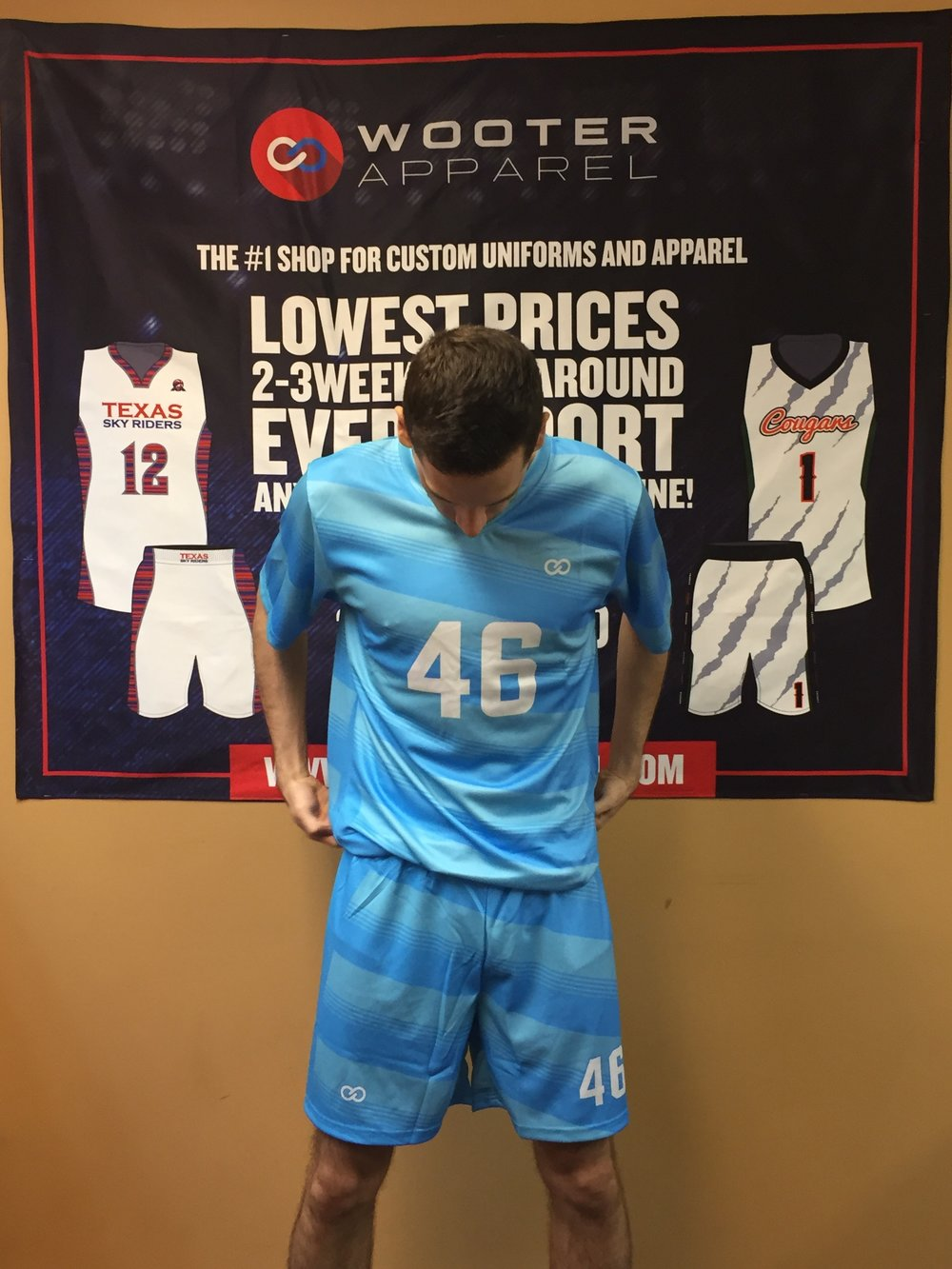 Sky blue White soccer uniforms jerseys, shorts