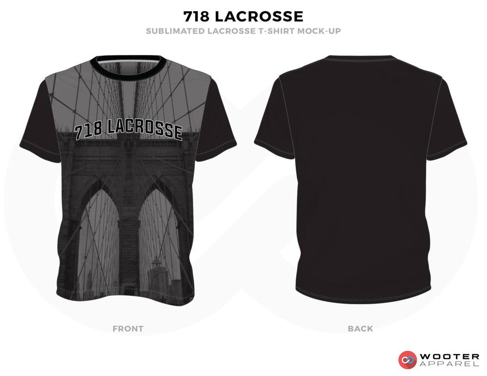 718 Lacrosse Black Grey Lacrosse T Shirts, Uniforms, Reversible Pinnies, Jerseys, Shorts