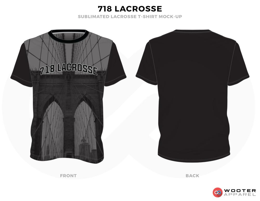 718 Lacrosse Black Grey Lacrosse T Shirts, Uniforms, Reversible Pinnies, Jerseys, Shorts