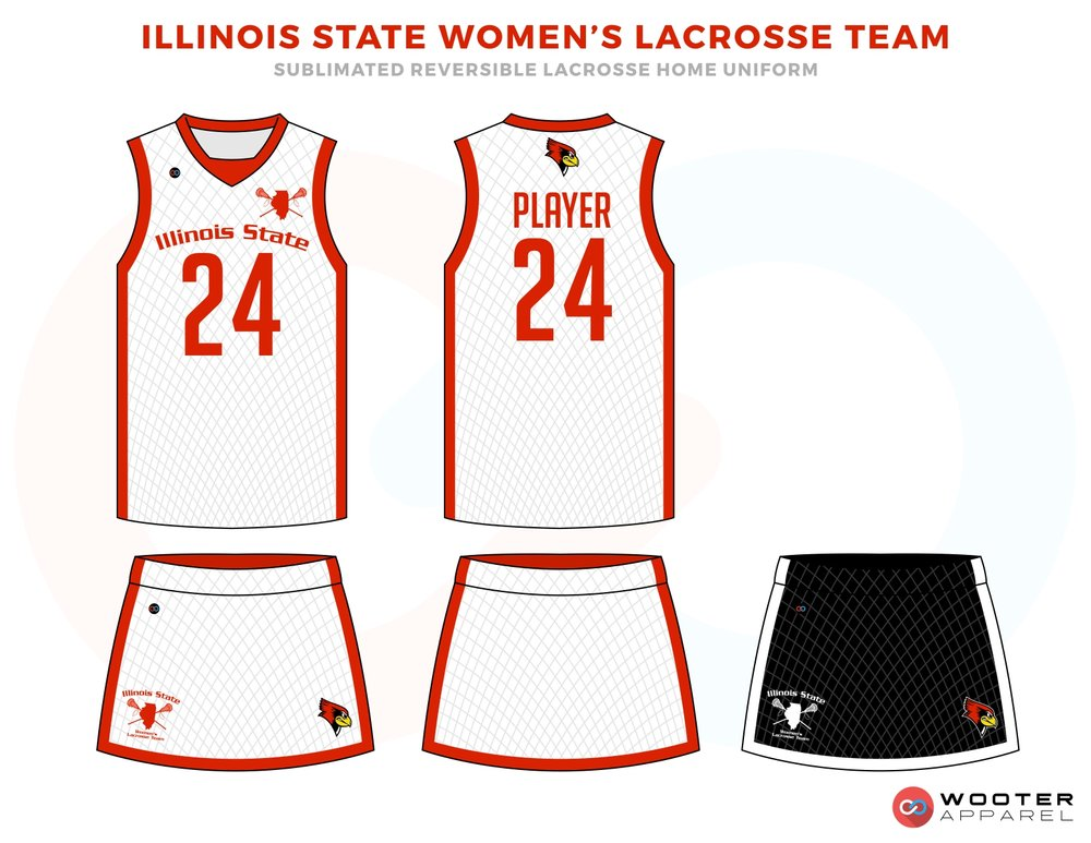 Illinois State Women's Red and White Lacrosse Uniforms, Reversible Pinnies, Jerseys, Shorts