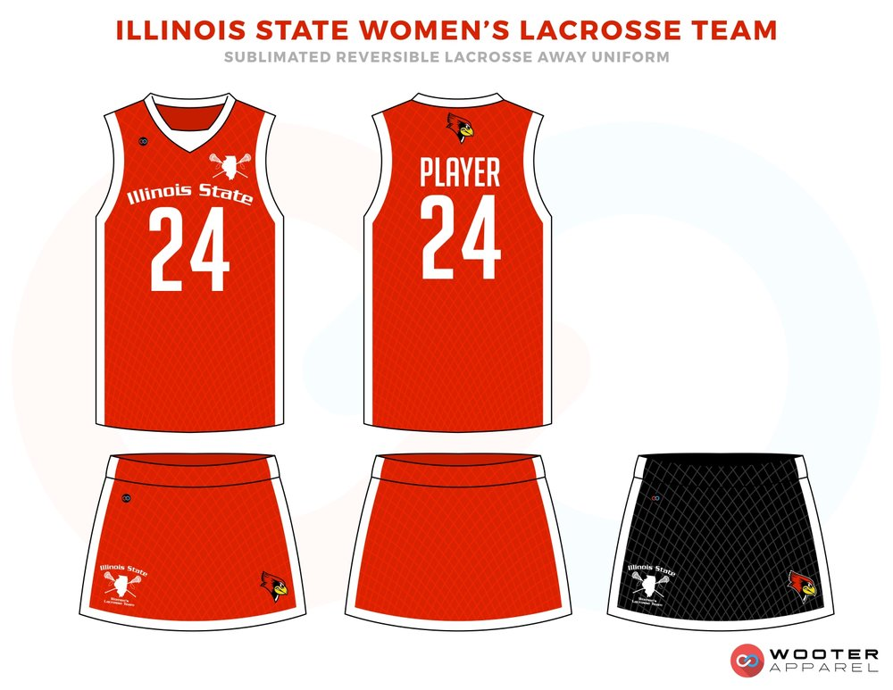 Illinois State Women's  Lacrosse Team Red and White Lacrosse Uniforms, Reversible Pinnies, Jerseys, Skirts