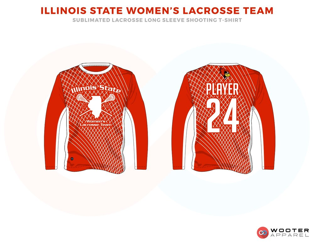 Illinois State Women's Red and White Lacrosse Long Sleeve T Shirts, Uniforms, Reversible Pinnies, Jerseys, Shorts
