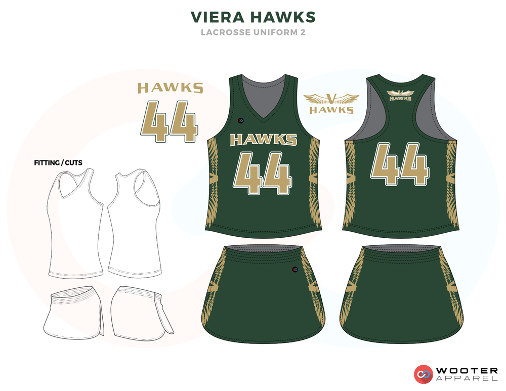 Viera Hawks Green Gold Lacrosse Uniforms, Reversible Pinnies, Jerseys, Skirts