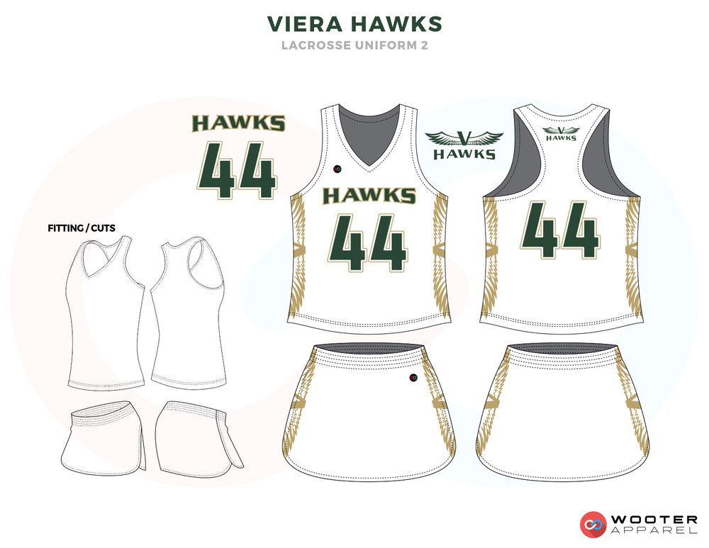Viera Hawks Green Gold and White Lacrosse Uniforms, Reversible Pinnies, Jerseys, Skirts