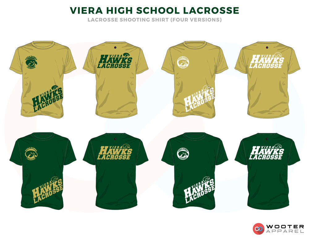 Viera Hawks Green Gold Lacrosse T Shirts, Uniforms, Reversible Pinnies, Jerseys, Shorts