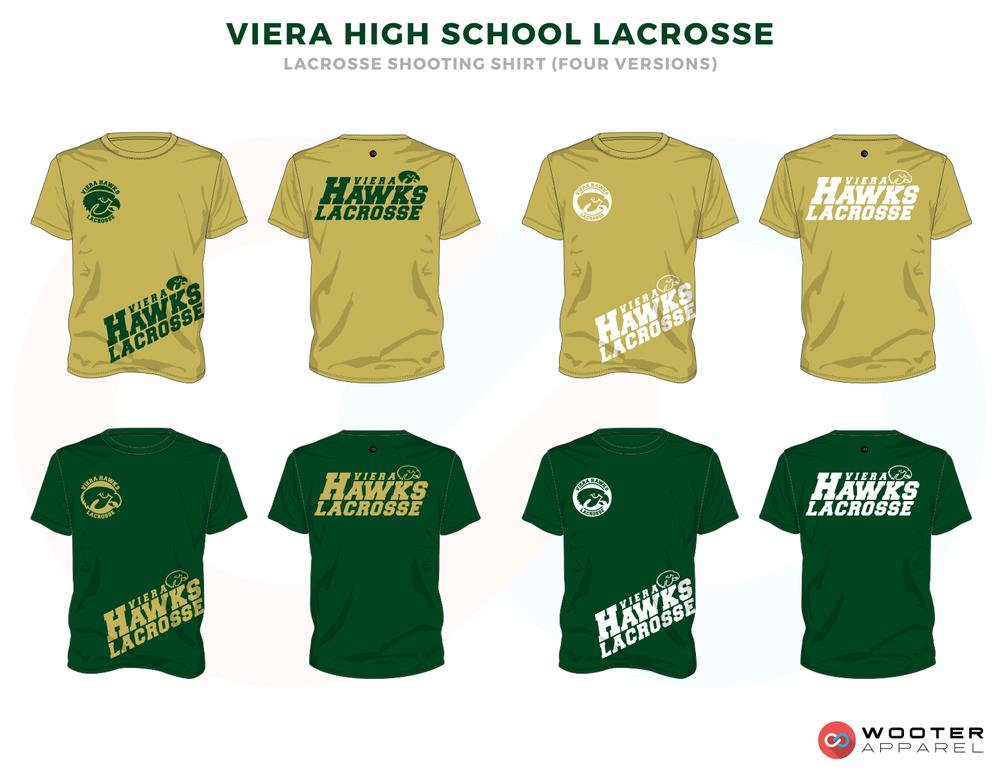 Viera Hawks Green Gold Lacrosse T Shirts, Uniforms, Reversible Pinnies, Jerseys, Shorts