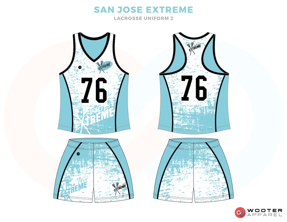 San Jose Blue and White Lacrosse Uniforms, Reversible Pinnies, Jerseys, Shorts