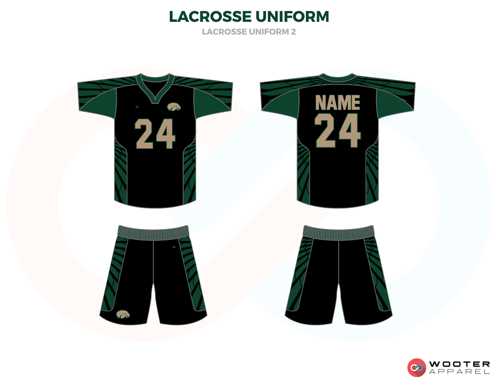 Green Black Brown and Yellow Lacrosse Uniforms, Reversible Pinnies, Jerseys, Shorts
