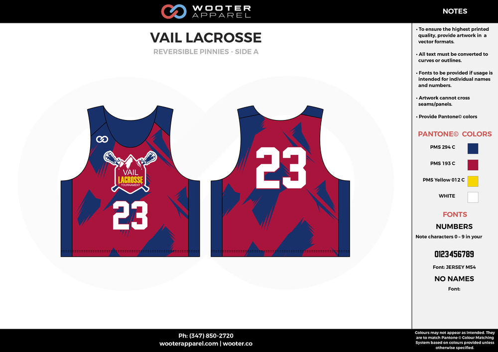 Vail Lacrosse Blue Red Yellow and White Lacrosse Uniforms, Reversible Pinnies, Jerseys