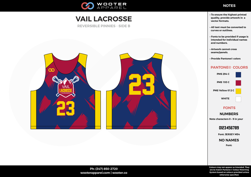 Vail Lacrosse Blue Red Yellow and White Lacrosse Uniforms, Reversible Pinnies, Jerseys,