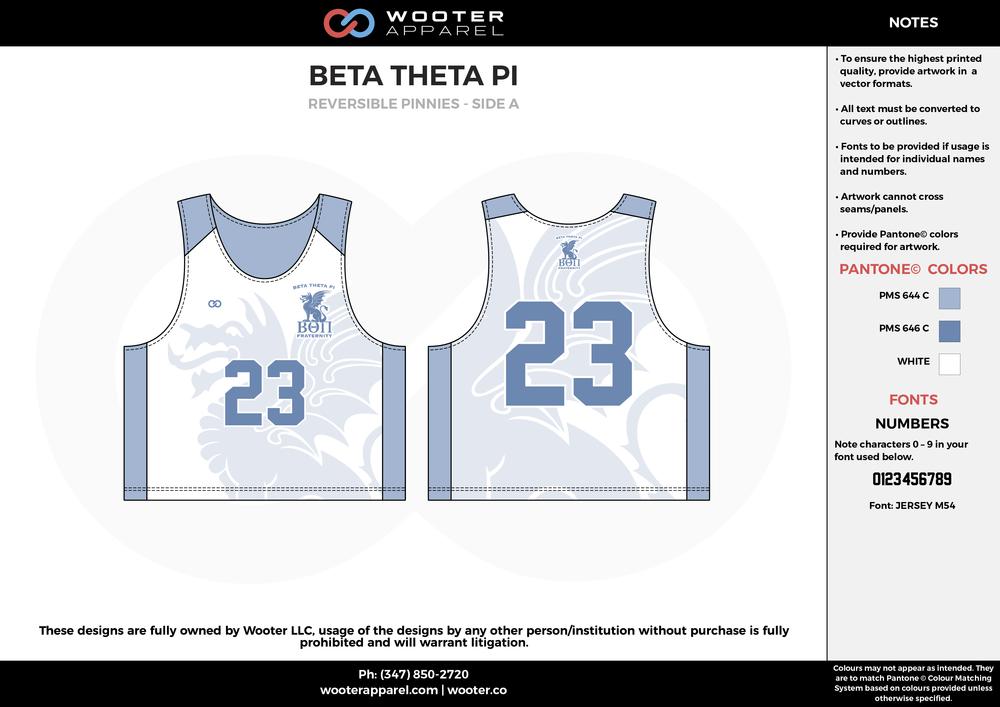 Beta Theta Pi Blue and White Lacrosse Uniforms, Reversible Pinnies, Jerseys, Shorts