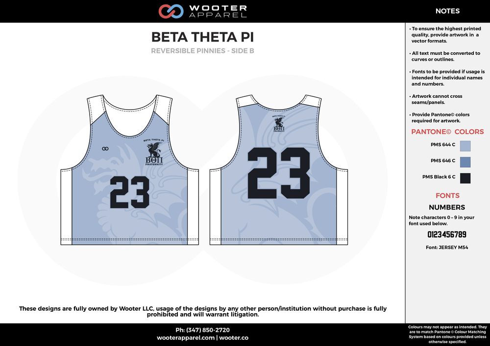 Beta Theta Pi Blue and White Lacrosse Uniforms, Reversible Pinnies, Jerseys,