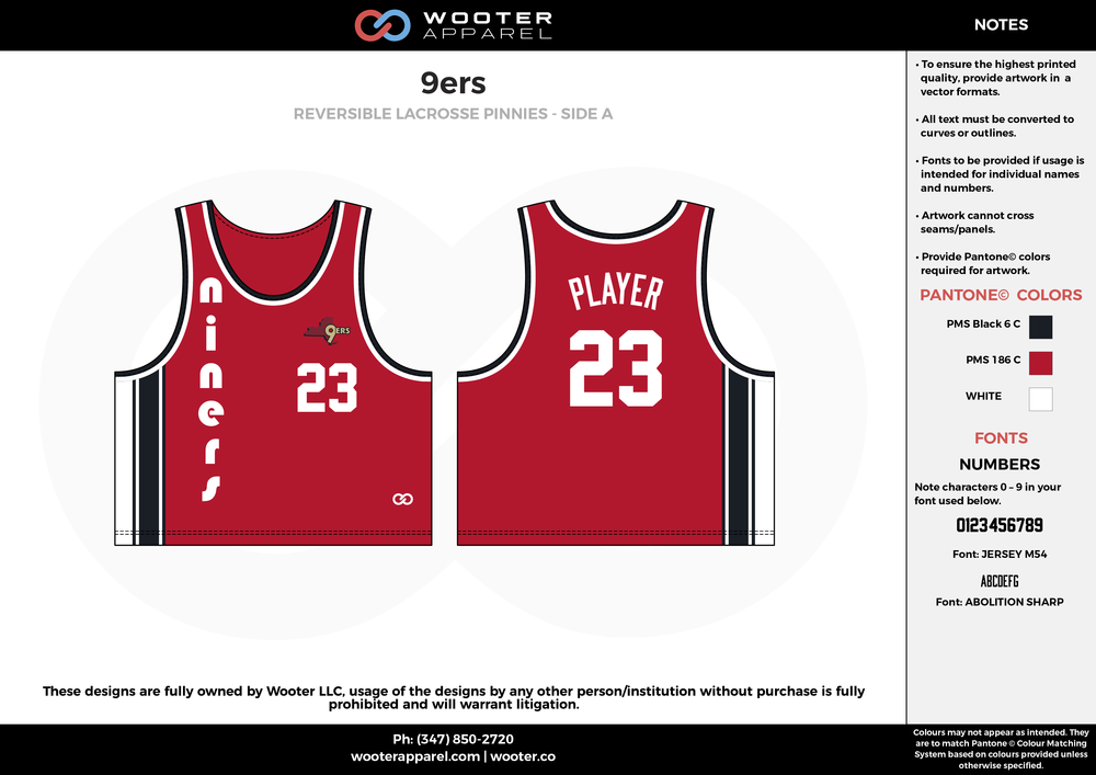 9ers Red Black and White Lacrosse Uniforms, Reversible Pinnies, Jerseys, Shorts