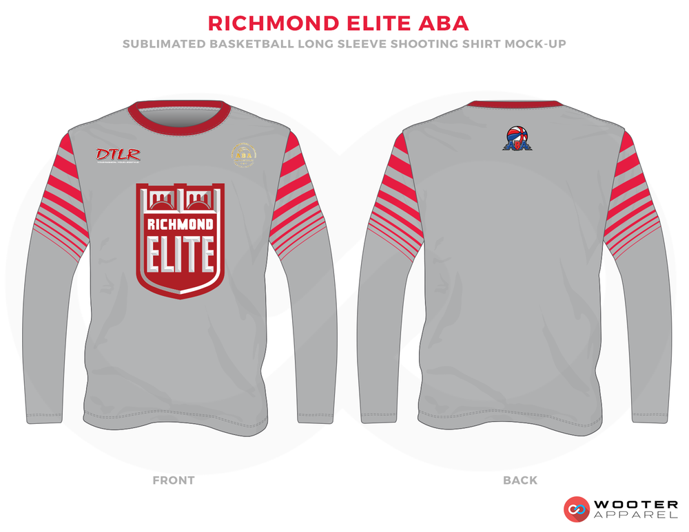 RICHMOND ELITE ABA Grey Red and White Premium Shooting Shirt