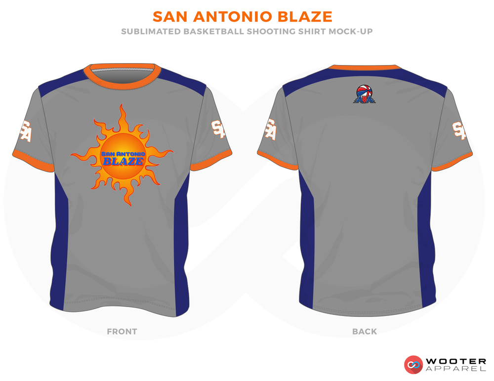 SAN ANTONIO BLAZE Orange Blue Grey and White RICHMOND ELITE ABA Grey Red and White Premium Shooting Shirt