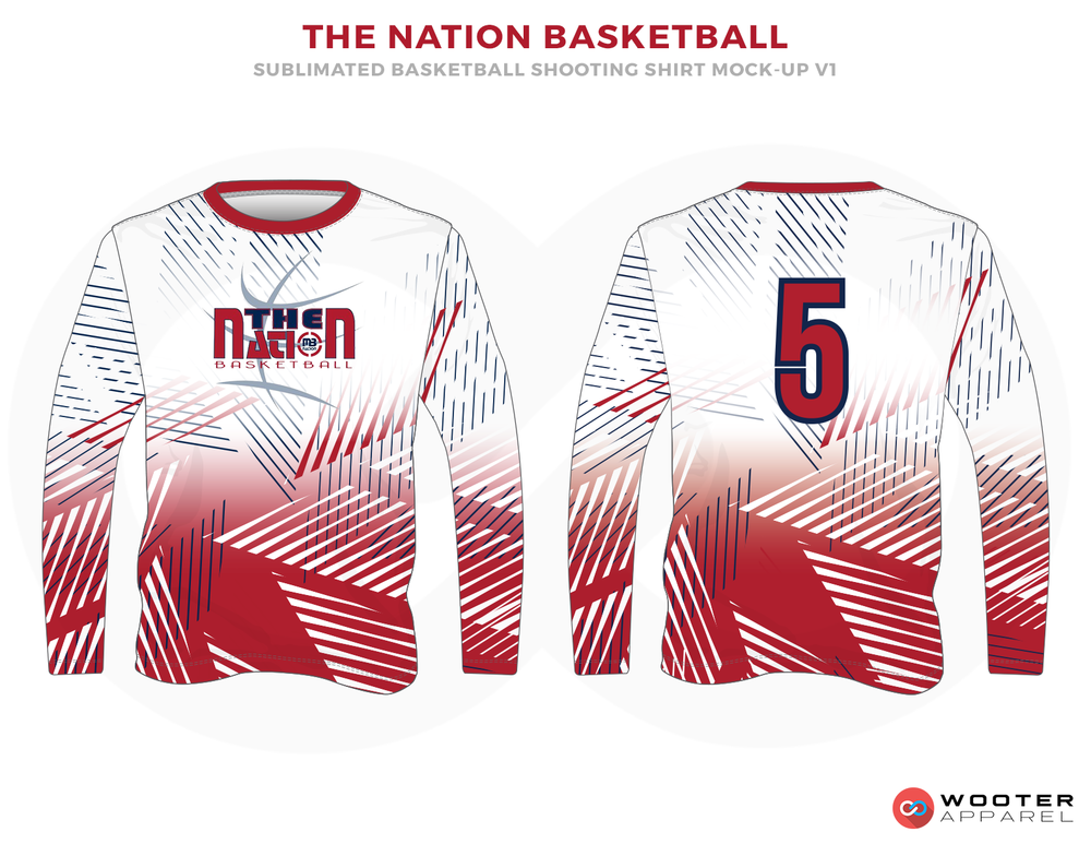 THE NATION BASKETBALL Maroon Blue and White RICHMOND ELITE ABA Grey Red and White Premium Shooting Shirt