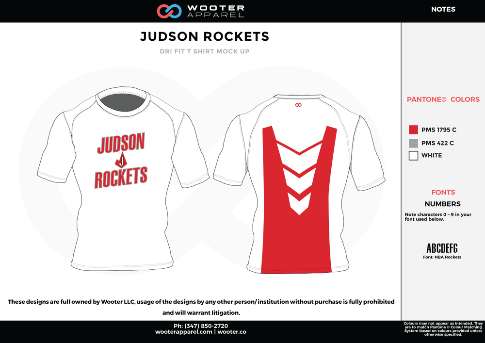JUDSON ROCKETS White and Red RICHMOND ELITE ABA Grey Red and White Premium Shooting Shirt