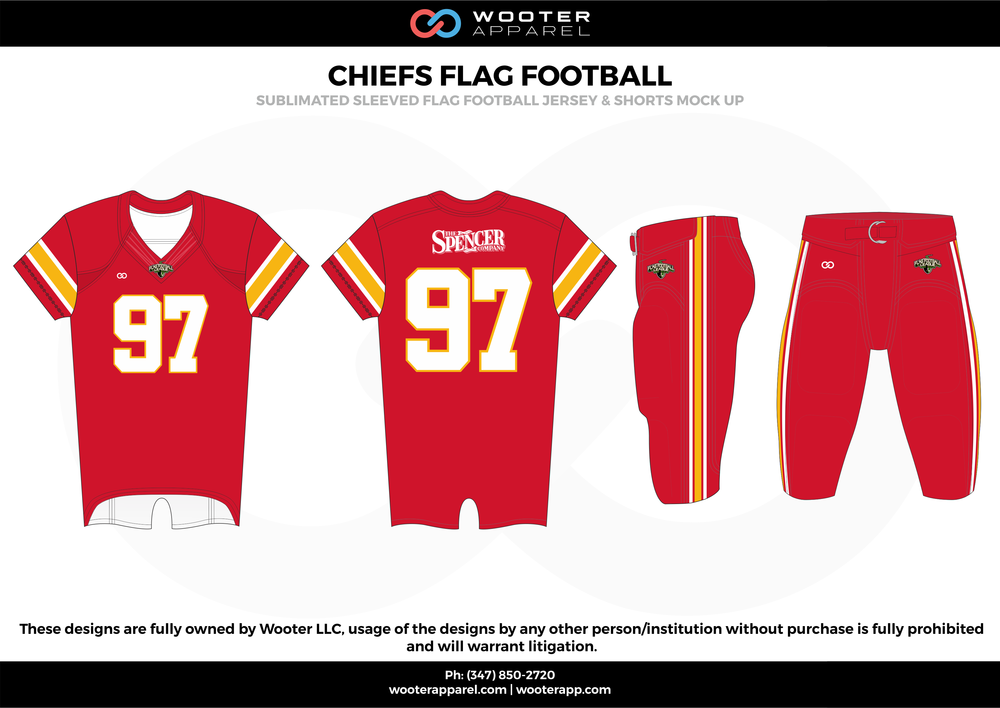 CHIEFS FLAG FOOTBALL red white yellow flag football uniforms jerseys pants