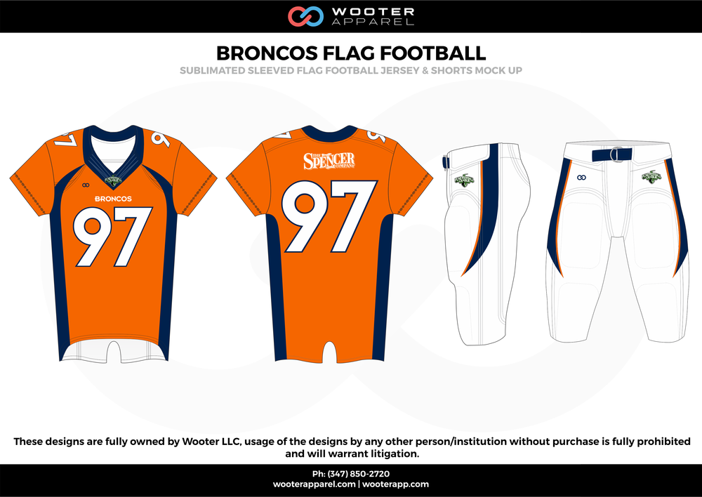 BRONCOS FLAG FOOTBALL orange white blue flag football uniforms jerseys pants