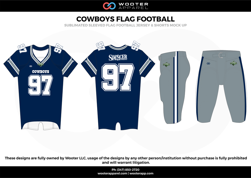 COWBOYS FLAG FOOTBALL blue gray white flag football uniforms jerseys pants