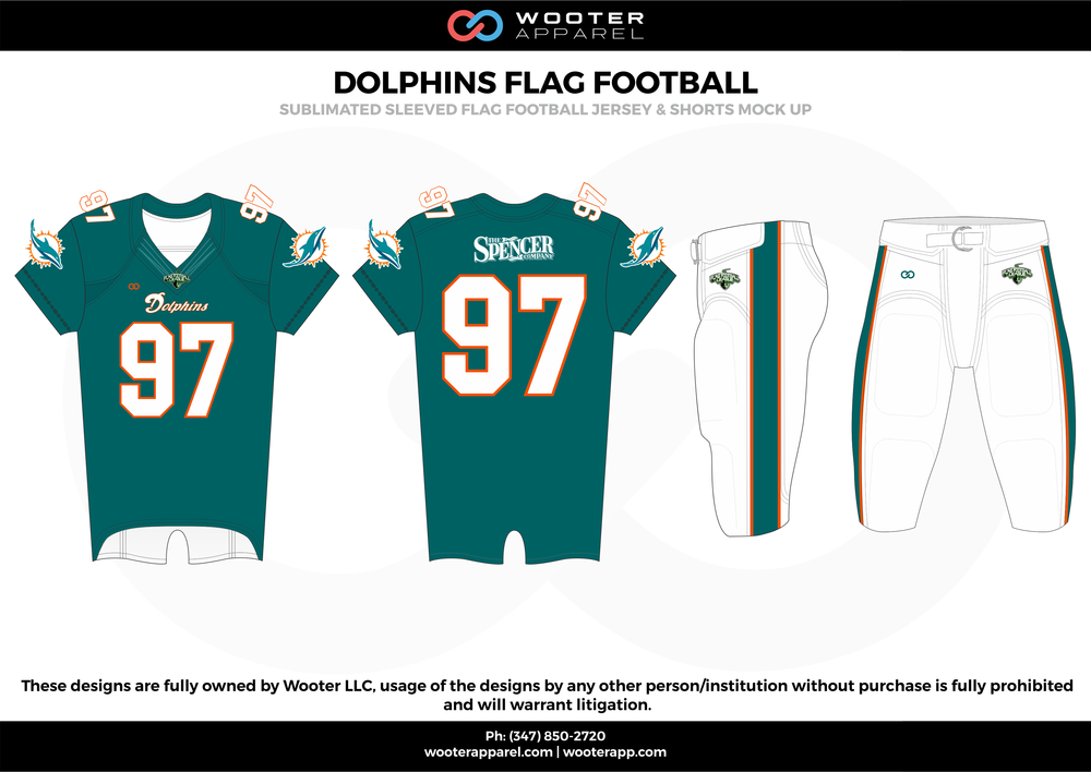 DOLPHINS FLAG FOOTBALL ocean blue white flag football uniforms jerseys pants